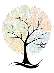 Wall Murals Birds in cages Abstract tree - seasons