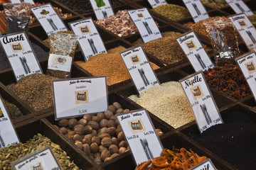 Herbs and spices on sale at a french market.
