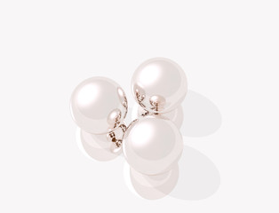 3D rendering of pink pearls, isolated object