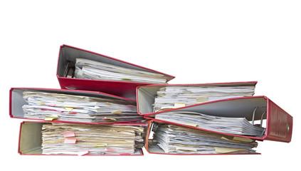 messy file folders / office folders , isolated