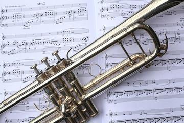 Wall Mural - Trumpet on Sheet Music