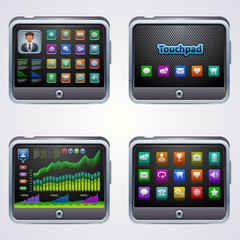 Touchscreen tablet pc with icons
