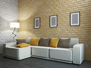 Livingroom with sofa and a lamp