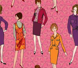 Fashion girls.1950's 1960's background. seamless pattern