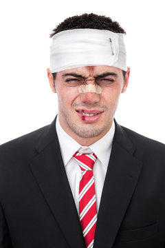 Funny man with wounds on head