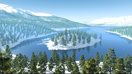 Mountains snow forest lake