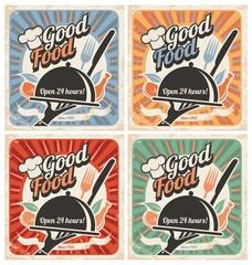 Wall Mural - Retro food posters