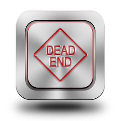 Obraz Dead end mark aluminum glossy icon, button - fototapety do salonu