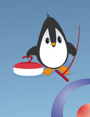 Cute penguin playing curling