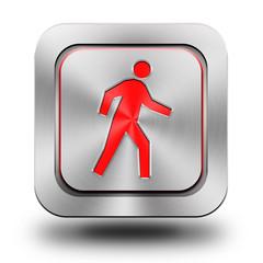Pedestrian aluminum glossy icon, button