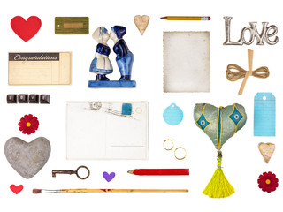 Set of romantic objects for Valentine and other love designs