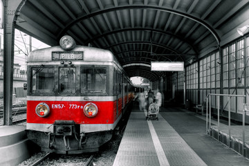 Wall Murals Red, black, white red train