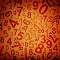 Numbers on fabric texture background