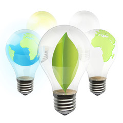Collection of realistic eco bulb isolated on white. Vector