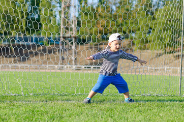 Cute little goalkeeper