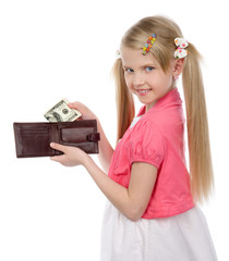 girl with dollar banknote. isolated on white