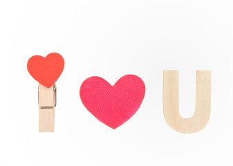 i love you speel with wood heart red clip