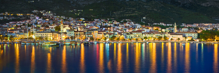 Town Makarska in Croatia at night