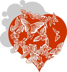 Valentines heart and butterflies - vector illustration.