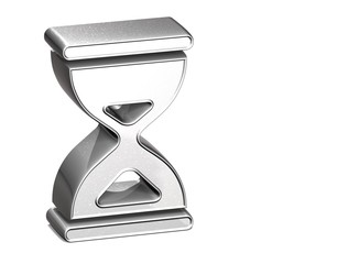 3D Hourglass Silver Sign over white background