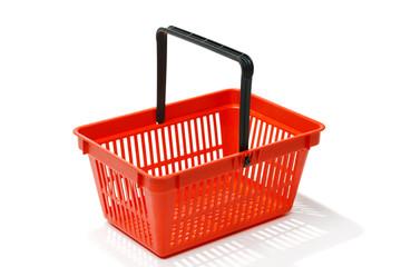 Red shopping basket, isolated on white background