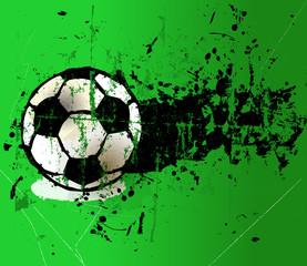 grungy football on the penalty spot, vector illustration