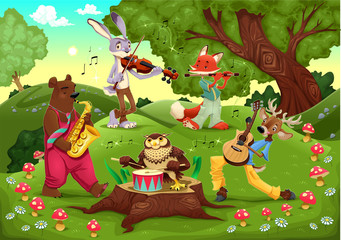 Canvas Prints Bears Musicians animals in the wood.