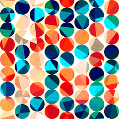 colored circles seamless pattern with grunge and glass effect
