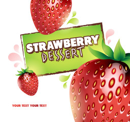 Strawberry background. Vector illustration for your design