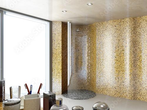 rund glas dusche im mosaik badezimmer stockfotos und lizenzfreie bilder auf bild. Black Bedroom Furniture Sets. Home Design Ideas