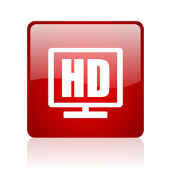 hd display red square glossy web icon on white background