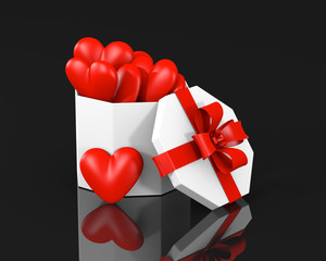 Fotorolgordijn Rood, zwart, wit Gift box with hearts