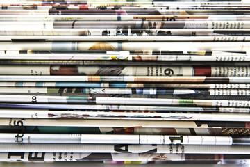 Fotobehang Kranten Stack of colored magazines
