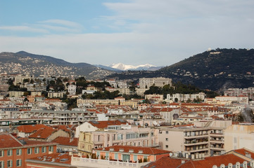 View over the city of Nice with the Alps in the background