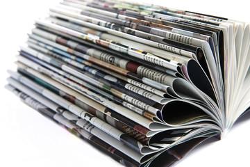 Fotobehang Kranten Stack of old colored magazines