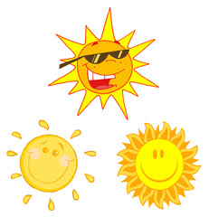 Different Happy Sun Cartoon Character- Collection
