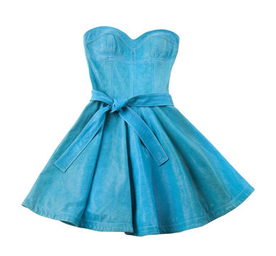 Turquoise leather evase strapless belted dress