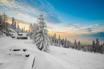 Beautiful winter sunrise photo taken in mountains