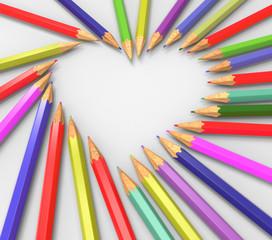 Lápices formando corazón