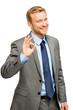 Happy businessman man okay sign - portrait on white background