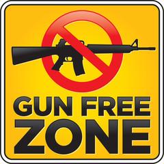 Gun Free Zone Assault Rifle Sign
