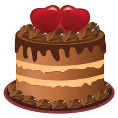 vector cake with red hearts