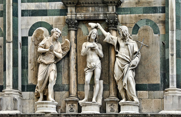 Jesus Baptism sculpture the Florence Baptisery, Tuscany, Italy