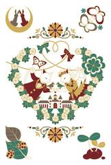 猫と鳥のカップル結婚式イラスト4色