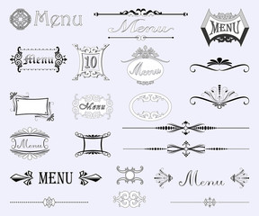Calligraphic vintage menu labels and decorations vector