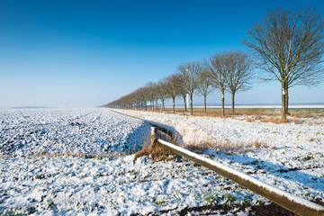 Closed walking path in winter