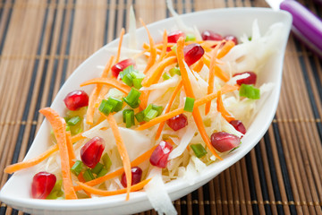 meatless salad with fresh cabbage
