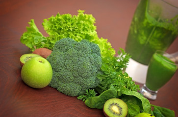 Green smoothie,  fruit and vegetable
