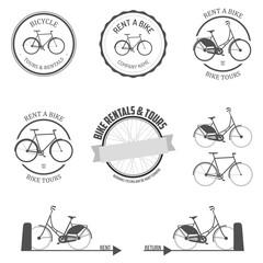 Set of rent a bike labels, badges and design elements