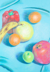 hand drawn illustration of different, colorful fruis